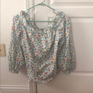 J. Crew floral off-shoulder blouse